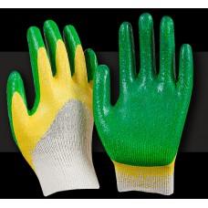 Перчатки с двойным обливом Люкс зеленые
