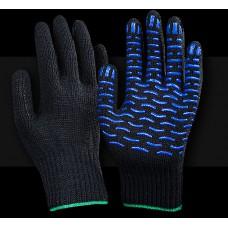 Рабочие перчатки ХБ 7,5 класс 5 нитей Супер Люкс Волна черная