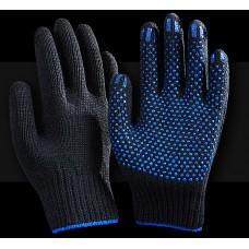 Рабочие перчатки ХБ 7,5 класс 5 нитей Супер Люкс Точка черная