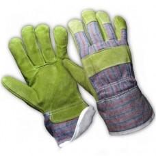 Перчатки спилковые зелено-фиолетовые